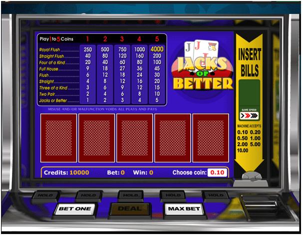 Jacks or Better video poker at online casinos